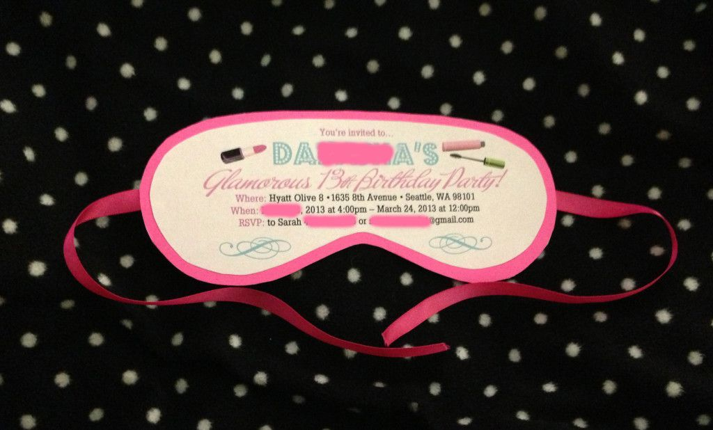 sleep mask party invitations - such a great idea for a sleepover ...