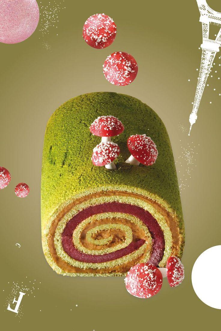 BÛCHE ELIXR roulé de biscuit pistache au crémeux caramel