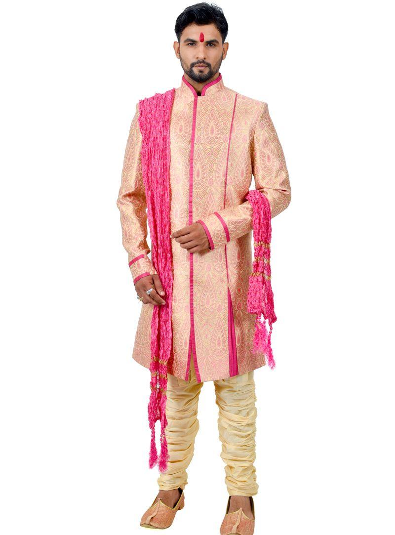 Peach silk readymade indo western suit readymade menus wear