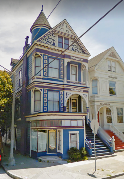 Delightful Blue White And Red Painted Lady Victorian House In San