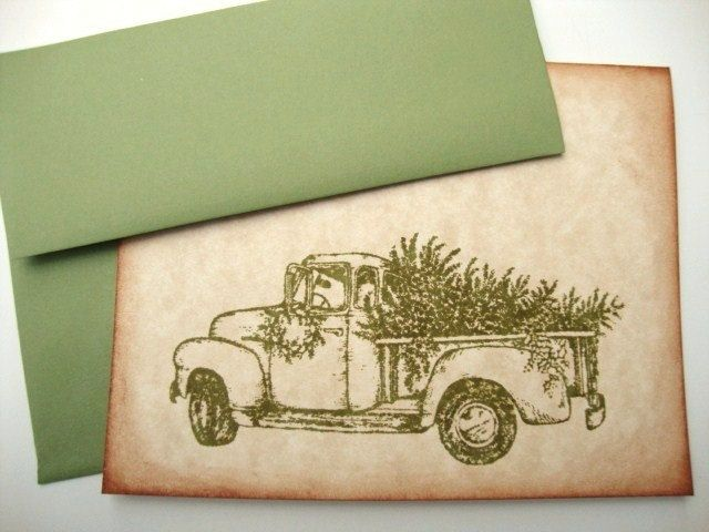 Rustic Christmas Cards Bringing Home the Tree Country Style. $16.00, via Etsy.