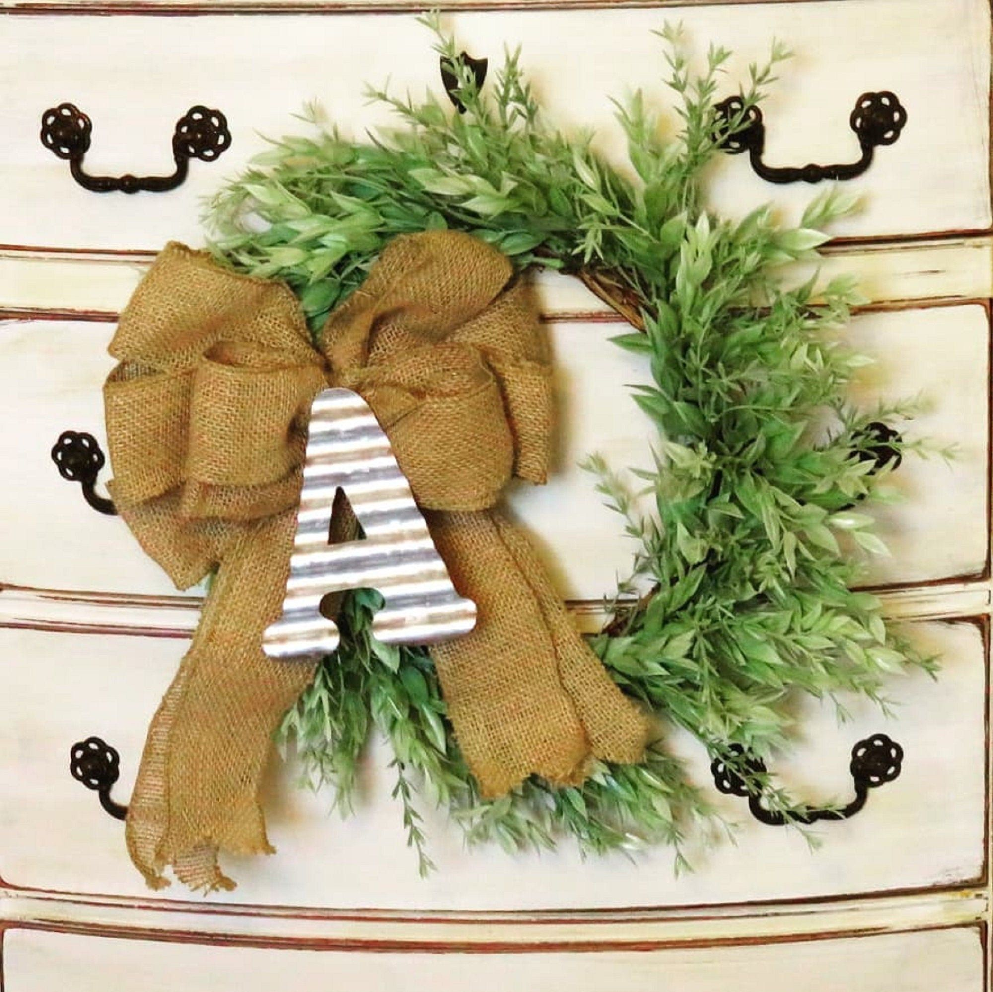 Wreaths Farmhouse Mini Wreath For Front Door Monogrammed Wreath Green Wreath With Bow Faux Wreath Small Wreath Window Housewarming Small Wreaths