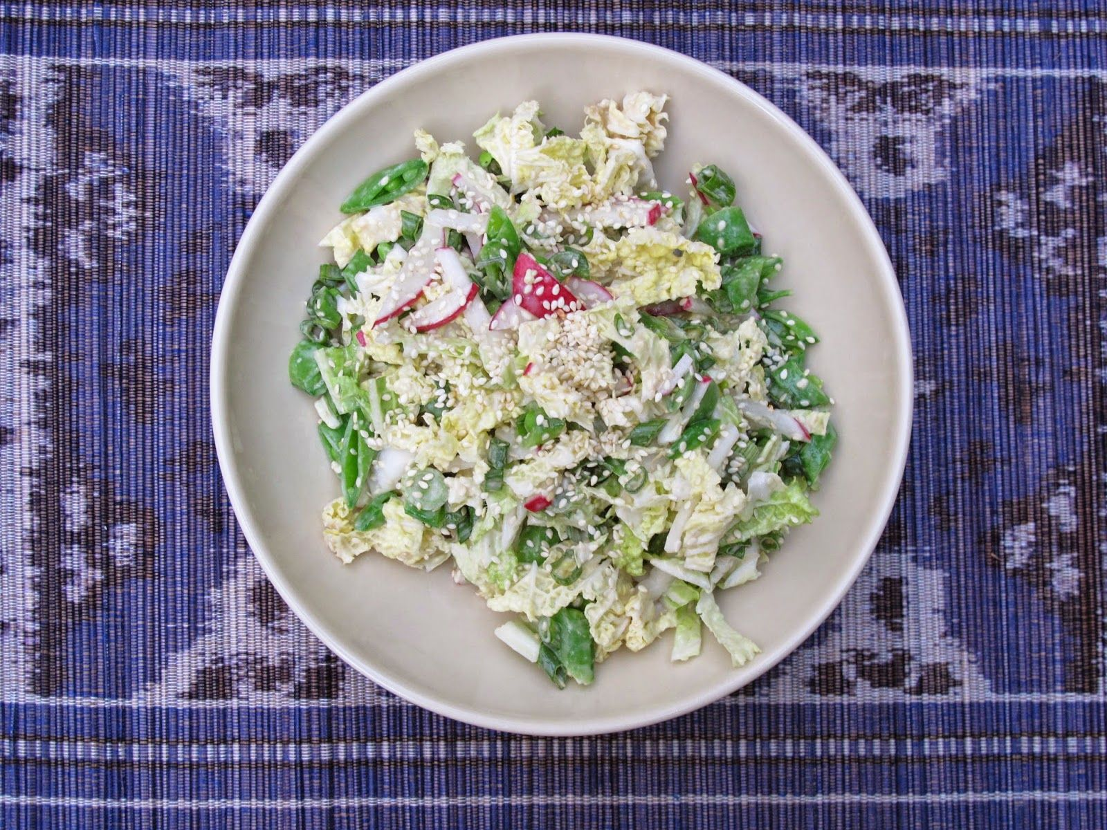 Snap Pea, Radish, and Napa Cabbage Salad with Creamy Ginger-Miso Dressing
