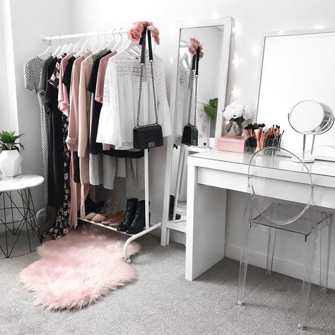 room inspiration Wardrobe inspiration, beauty room, makeup vanity, IKEA Malm  room inspiration