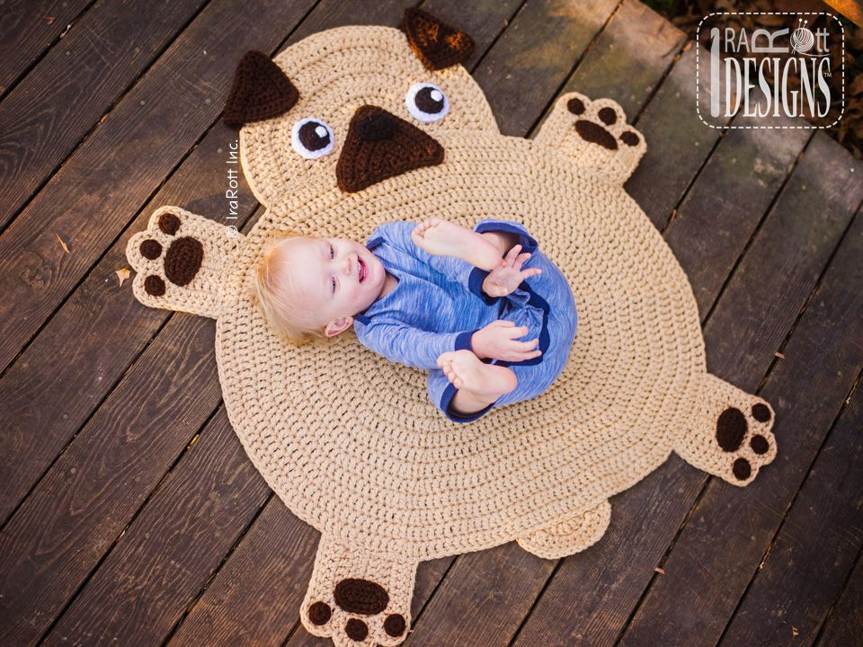 Pug Puppy Dog Animal Rug Nursery Mat Crochet Pattern for ...