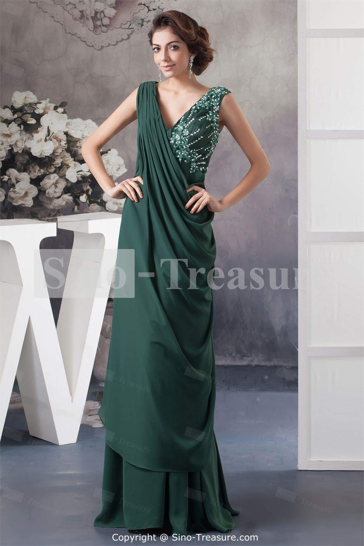 Dark cyan chiffonsilklike satin floorlength sheathcolumn beading