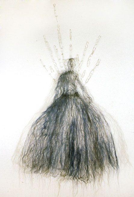 "Lesley Dill wire sculpture: ""Blue"", 2004 Source: http://www.lesleydill.net/wire.html"