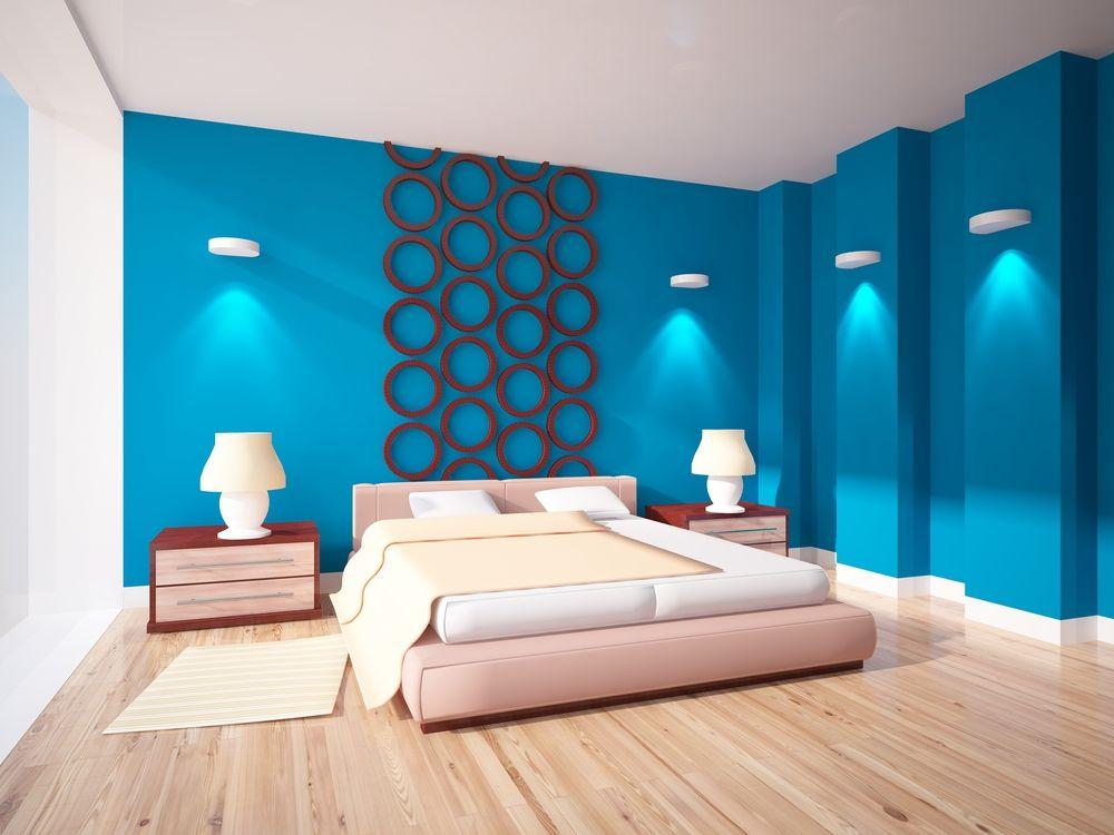 Schlafzimmer Dunkelblau ~ Wohnzimmer und schlafzimmer in blau schlafzimmerwand