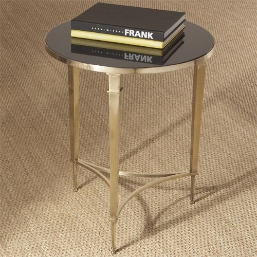 Global Views Round French Square Leg Table-Brass and Black Granite