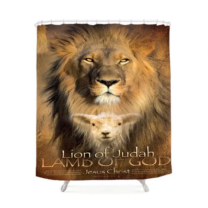 Lion Quote Bible Verse Shower Curtain Names Of God Lion Of