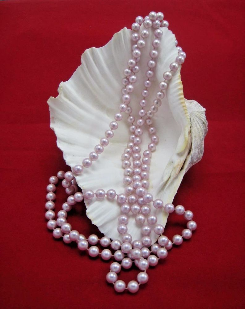 Details about vintage opera long length lavender faux pearl necklace