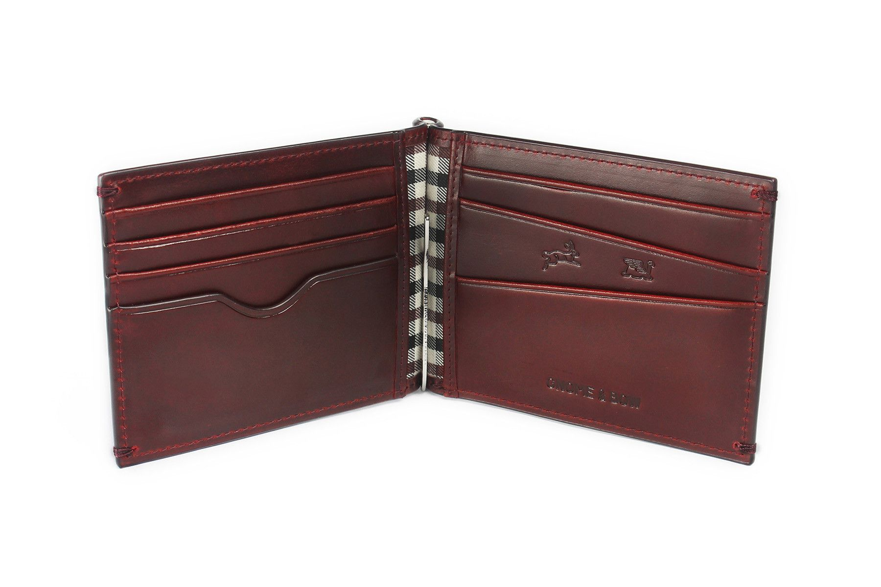 REGAL MONEY CLIP BILLFOLD | Oxblood | The Hare & the Flying Tortoise Collection - www.gnomenbow.com -