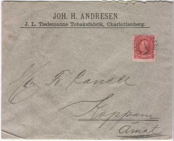 Brev fra Joh. H. Andresen, J.L Tiedemanns tobakksfabr., Charlottenberg til Fr. Canell, Koppom, Åmot.