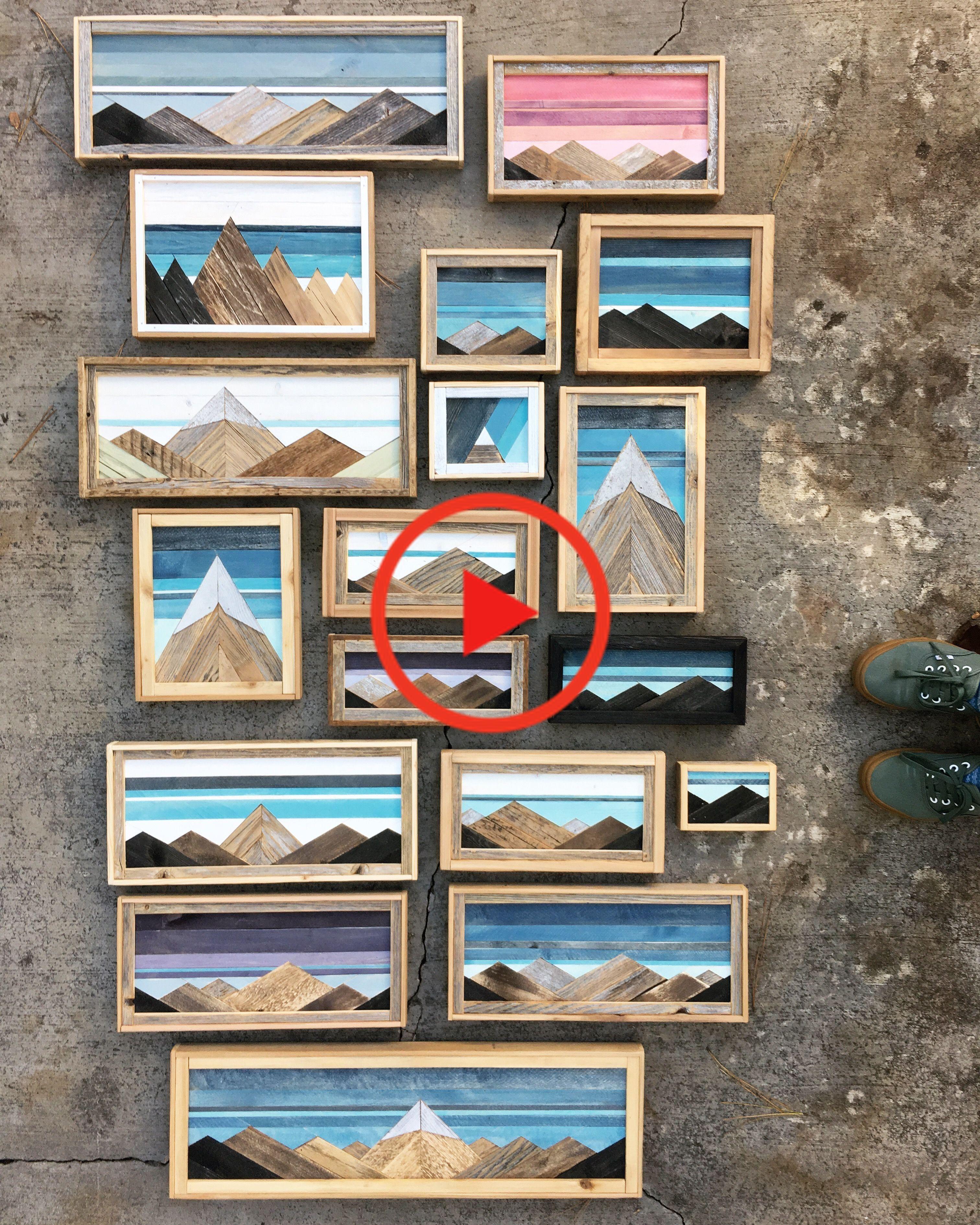 Reclaimed wood mountain art in 2020 mountain wood art