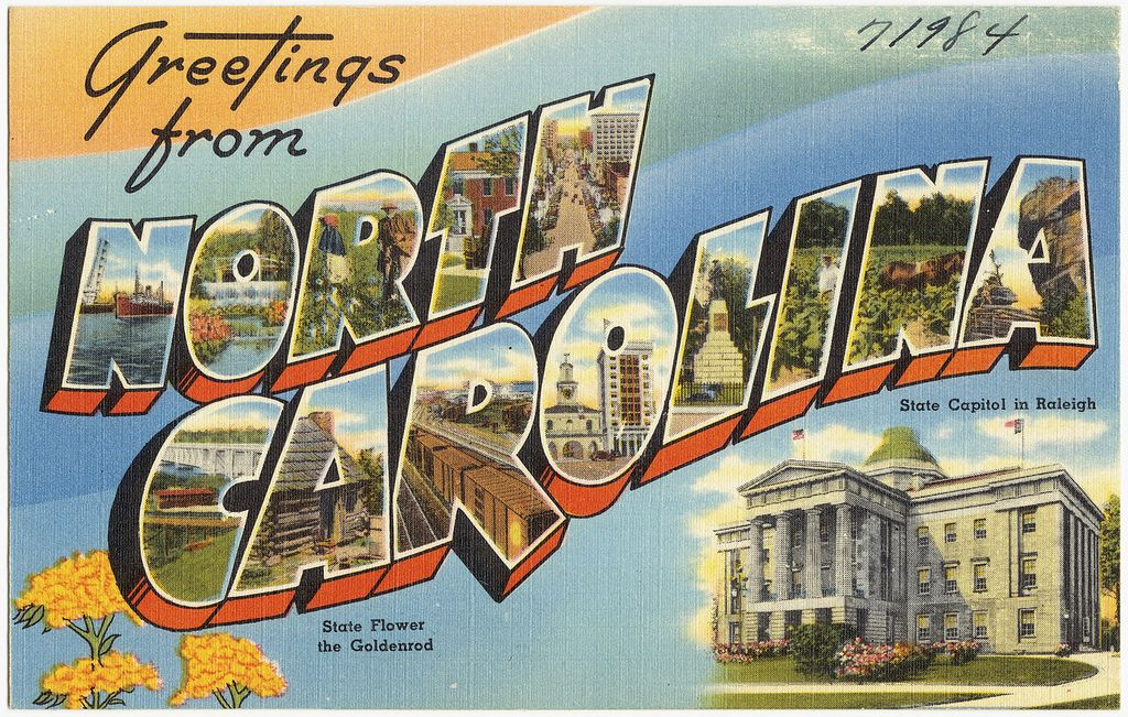 Greetings From North Carolina State Capitol In Raleigh State Flower The Goldenrod Visit North Carolina Vintage Postcards Postcard