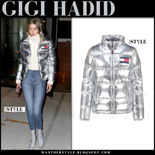 Gigi Hadid in metallic silver puffer down jacket, skinny jeans and ...