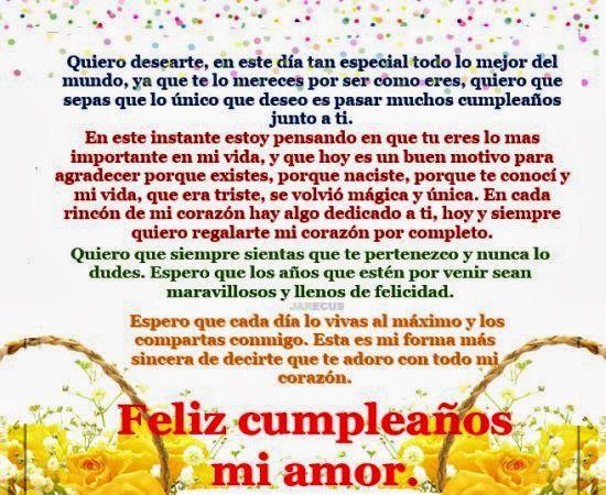 Carta de amor feliz cumpleanos para mi novia 15 anos