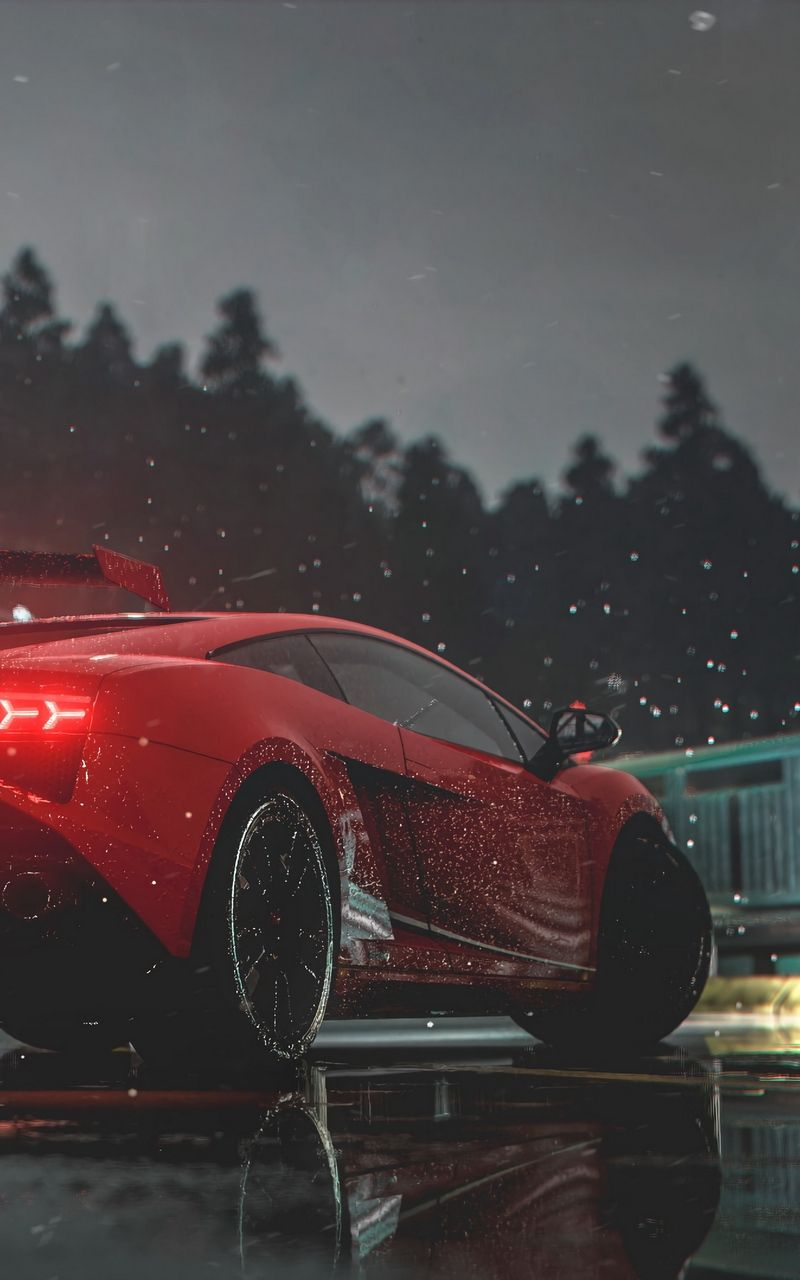 Wallpaper Lights Car Wet Side View Red Sports Car Red Sports Car Sports Car Wallpaper Sports Car
