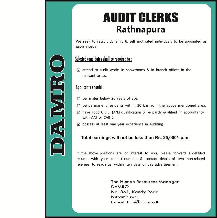 Resume Builder Pdf Audit Clerks At Damro  Career First  Accounting Jobs  Pinterest  Resume Profile Example Word with Updated Resume Format Excel We Seek Candidate For Audit Clerks Position You Need Have Good Gce Al  Qualification What Should My Objective Be On My Resume