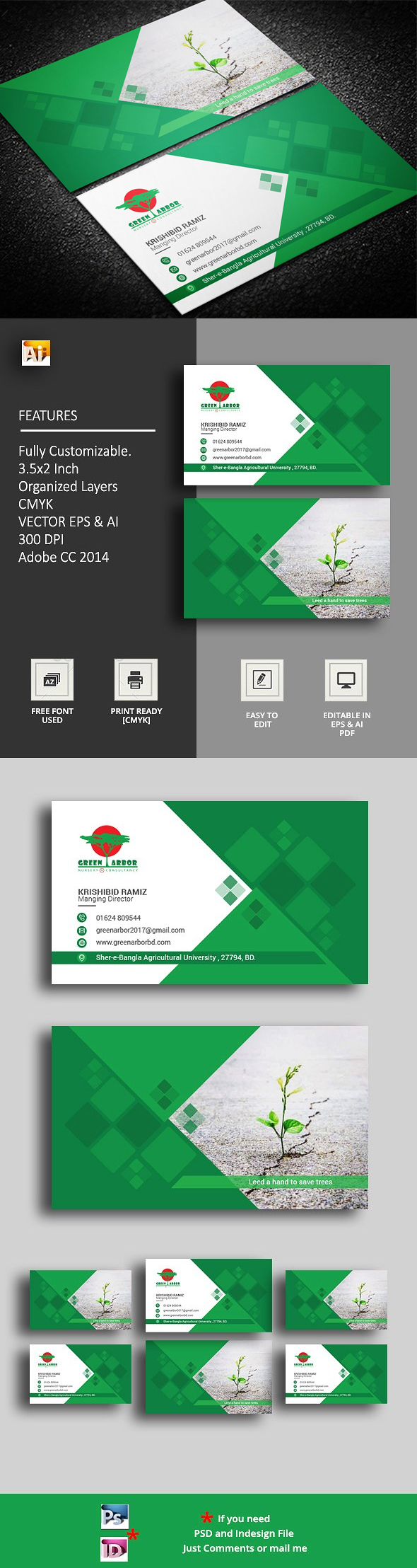 Agricultural Business Card Template PSD, AI | Business Card Template ...