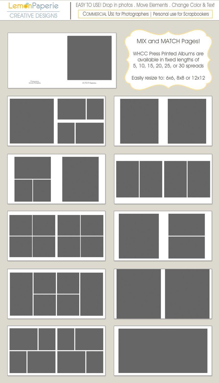 10x10 Whcc Classic Album For Press Printed Layflat Albums 10 Spreads Photoshop Templates 15 00 Via Photo Album Layout Photobook Layout Photo Album Design