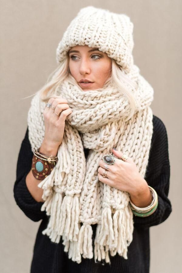 Photo of Desert Cozy Chunky Knitted Oversized Scarf – Sand