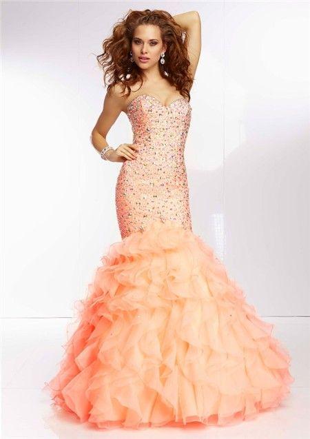 Elegant Mermaid Sweetheart Light Orange Organza Ruffle Prom Dress ...