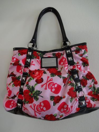 Betsey Johnson Betseyville Handbag Tote Satchel Purse Skulls And Roses
