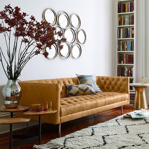 Modern Chesterfield Leather Sofa 79 West Elm 1959 Great Color Would Be Nice In Den