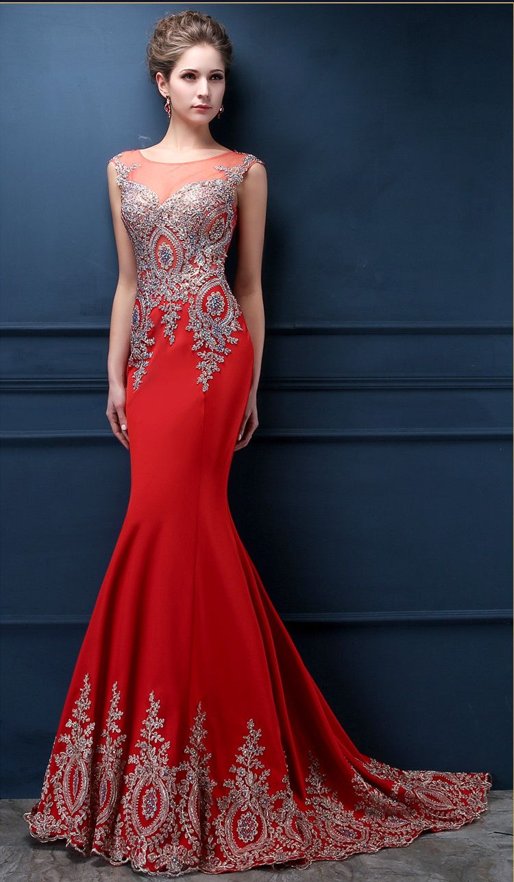 Red mermaid charming evening dress custom made sexy prom gowns