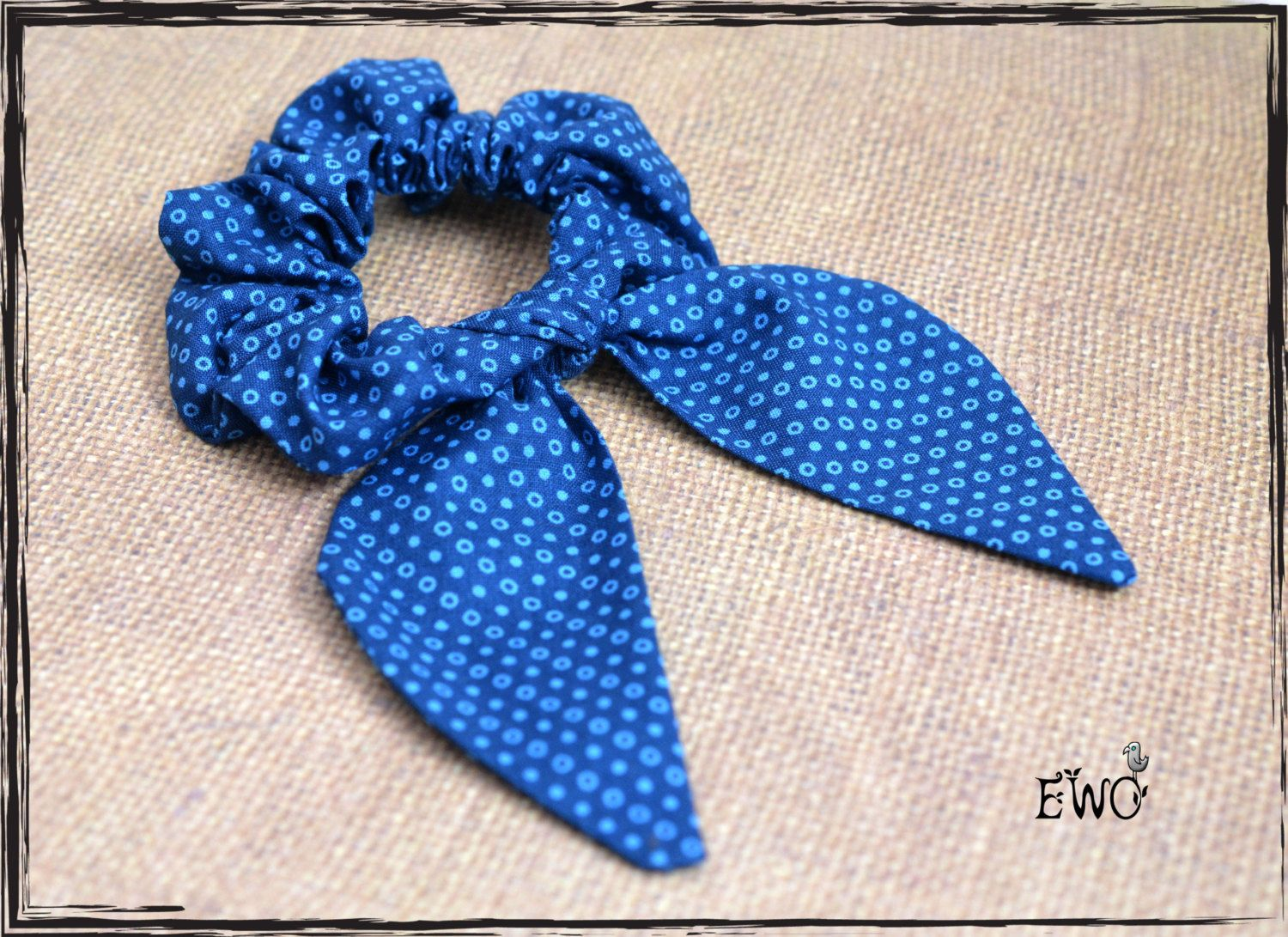 Bunny ear scrunchie Bun wrap Indigo blue polka dot scrunchy Kawaii ...