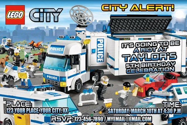 Lego City Printable Birthday Party Invitation