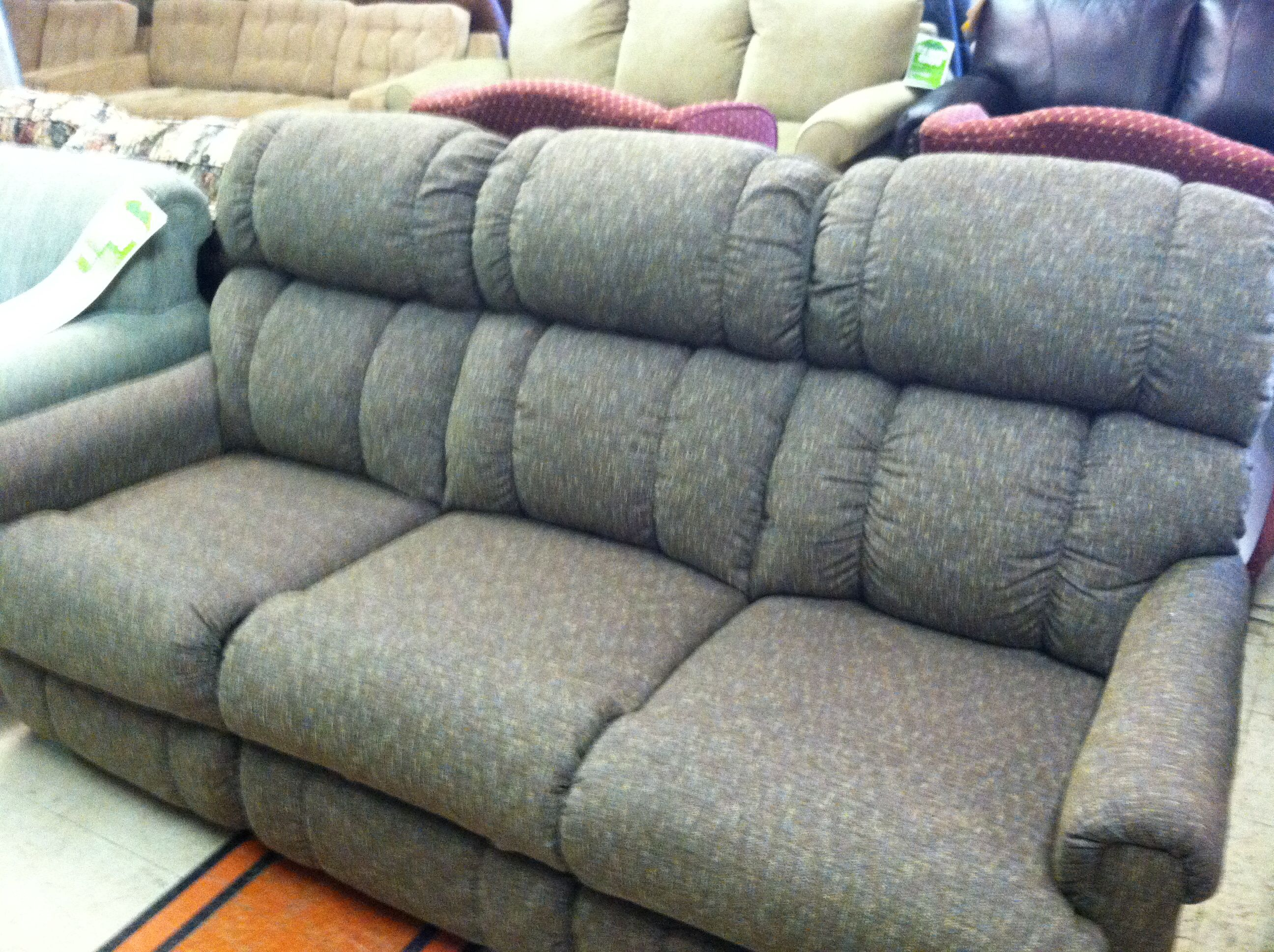 Blue Tweed Lazy Boy Reclining Sofa Out With The Old