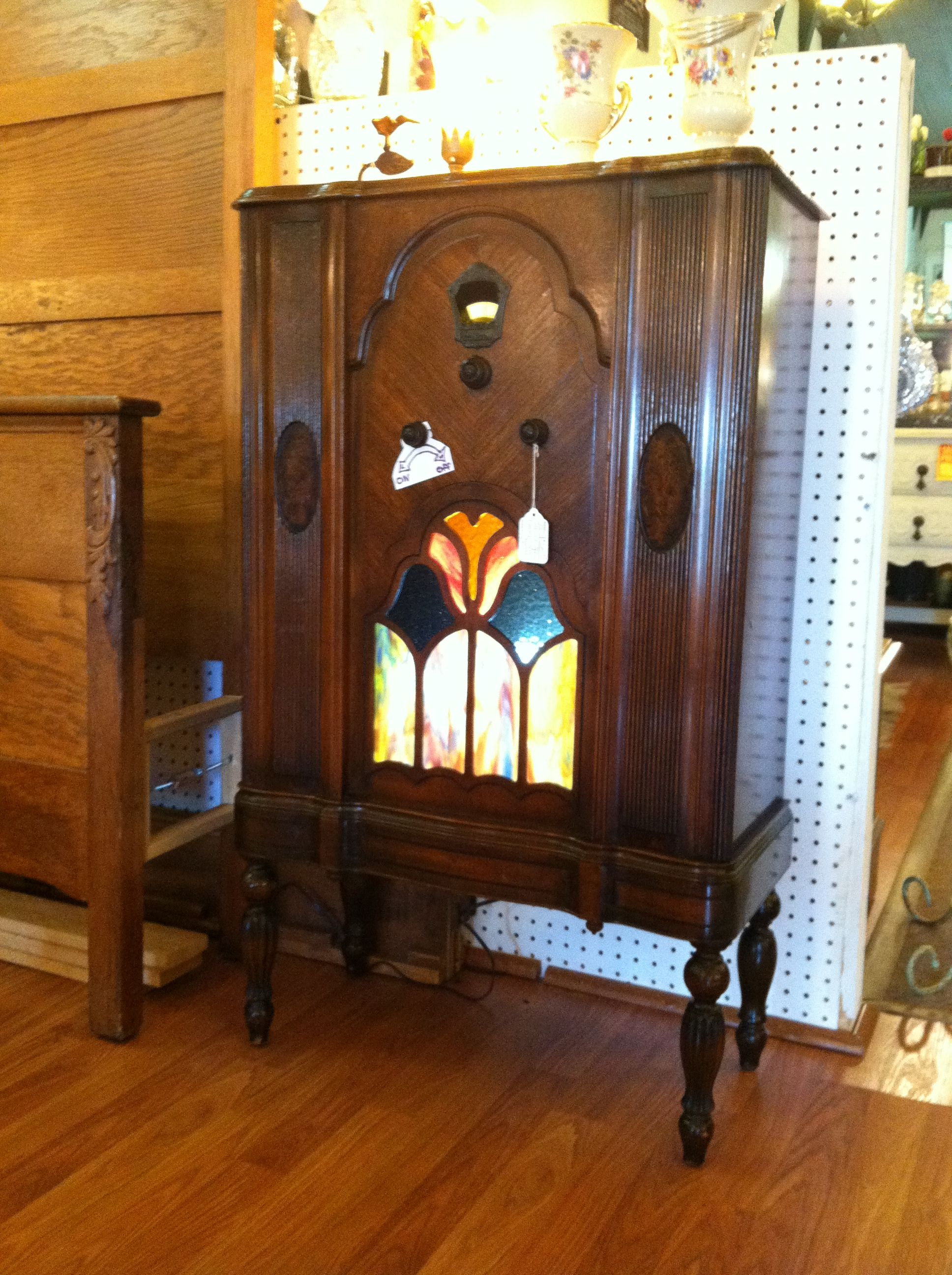1920 s radio cabinet with stained glass The first radio invented