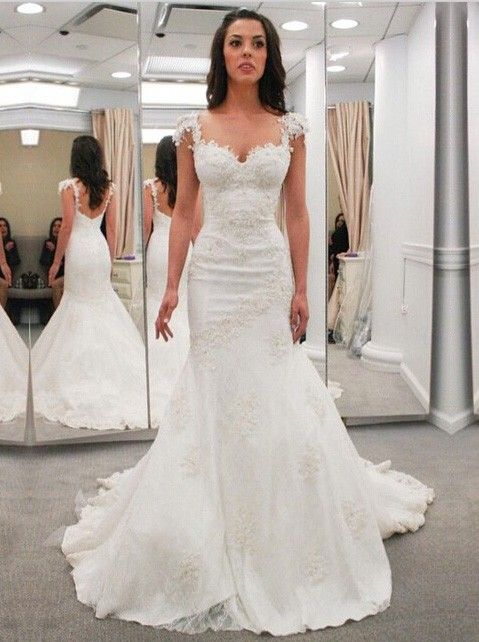 Buy Modern Sweetheart Cap Sleeves Lace Appliques Open Back Mermaid Wedding Dresses WD 71136 Trumpet
