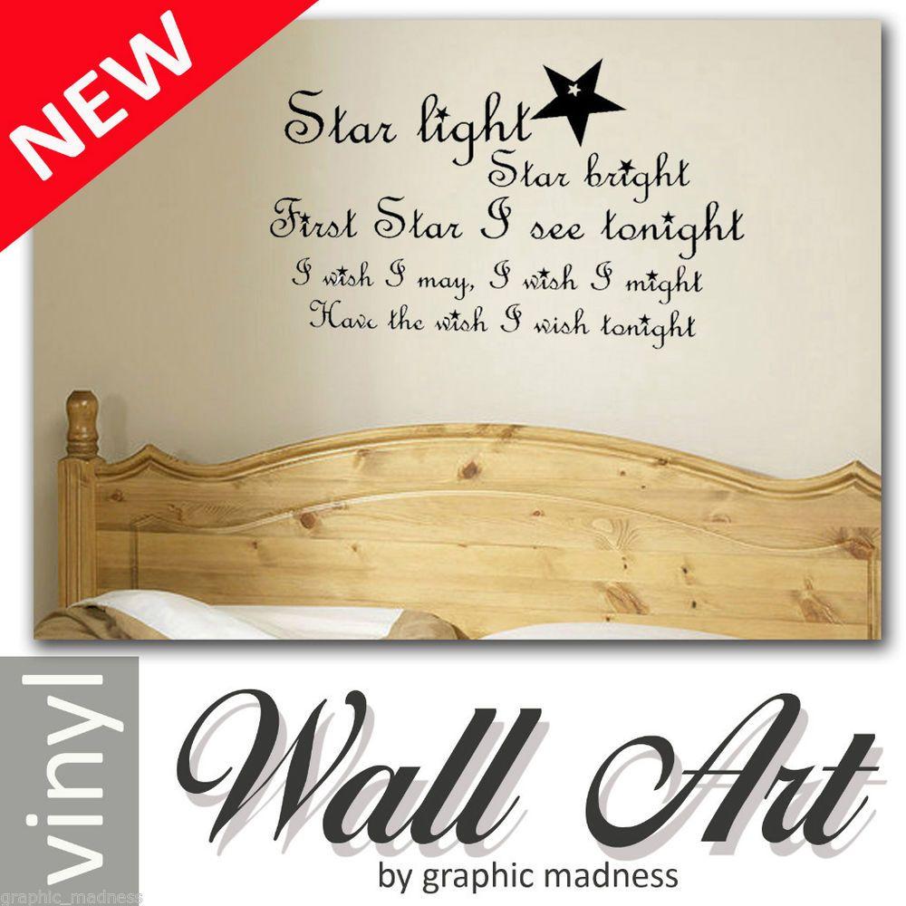 Star Light Star Bright Vinyl Wall Art Sticker Bedroom Nursery Baby ...