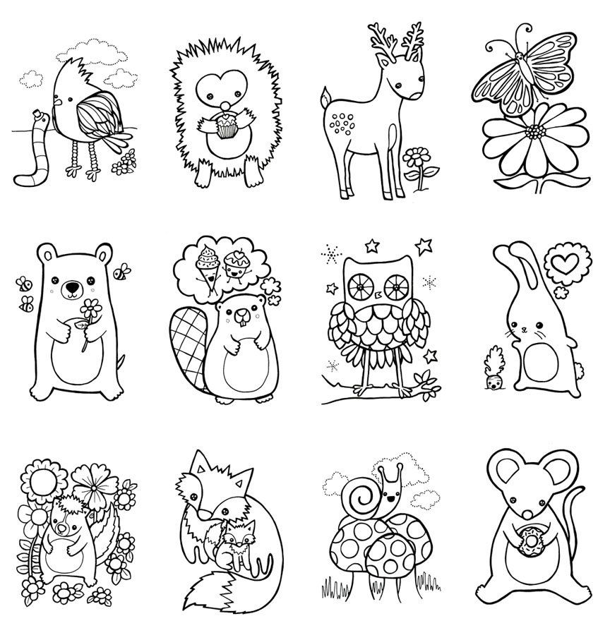 Coloring Book Woodland Animals Easter Children Craft Zoo
