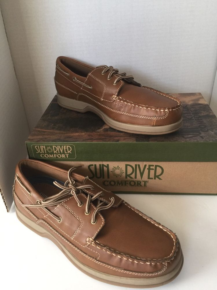 Mens Shoes Sun River Comforters Leather Light Brown Size 10 Tan Boat Loafers  New