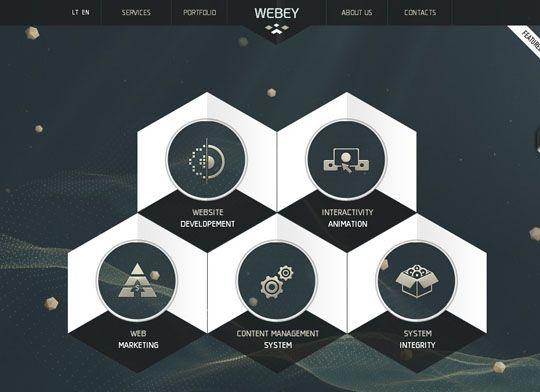 Showcase of Websites Using Hexagons