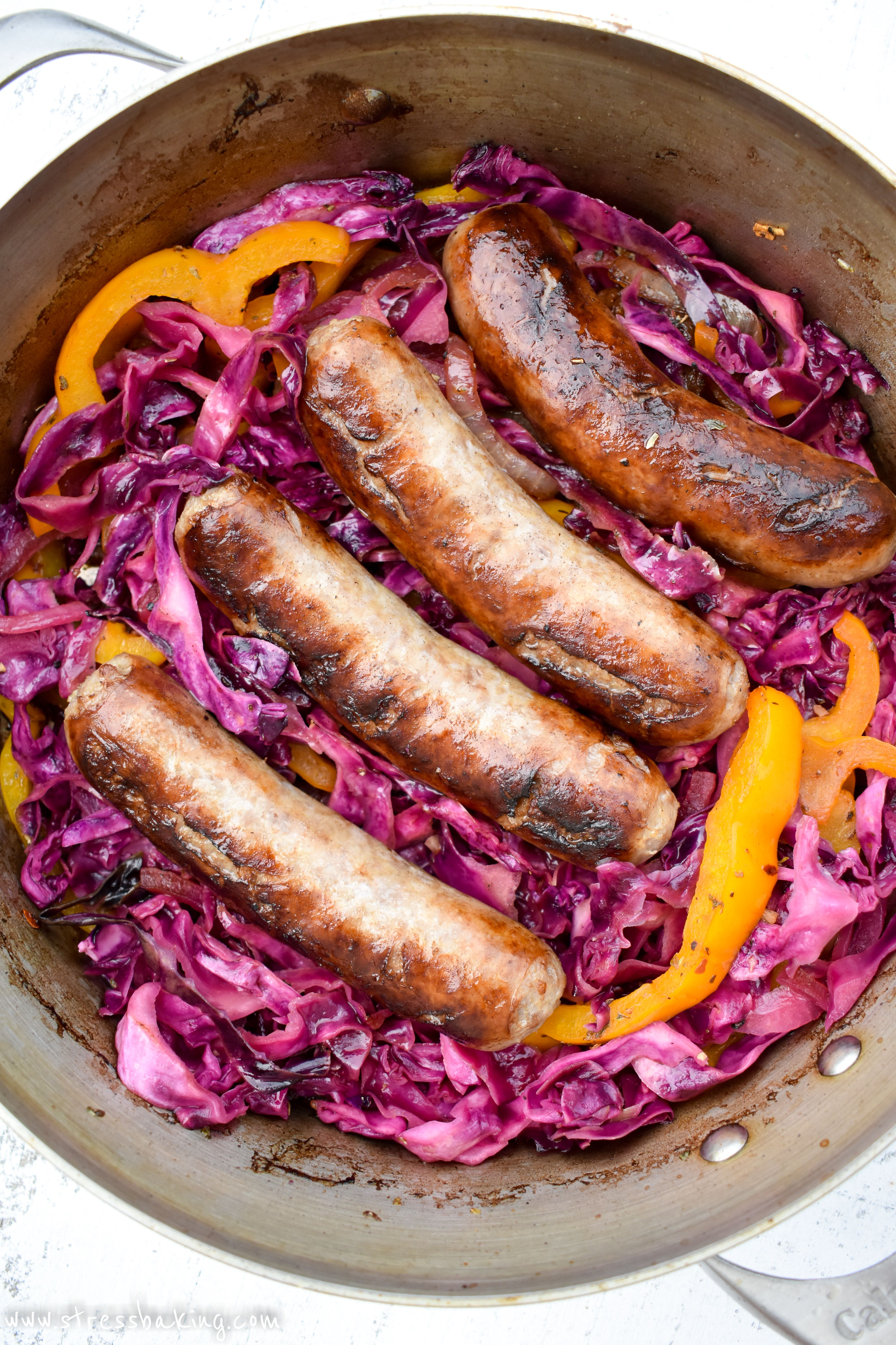 Smoky sauteed vegetables are combined with sweet and sour red cabbage to make the perfect partner to juicy, flavorful beer-soaked bratwurst!
