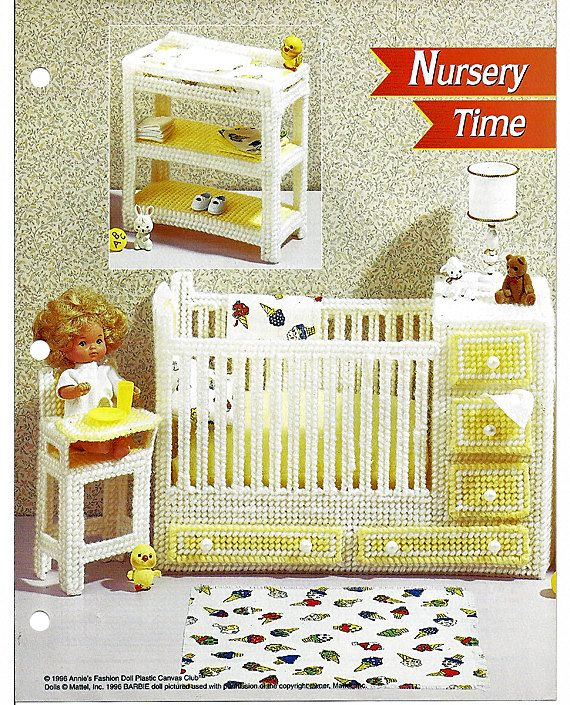 Barbie Plastic Canvas | Nursery Time: Barbie Plastic Canvas Furniture  Crib/dresser U0026 High