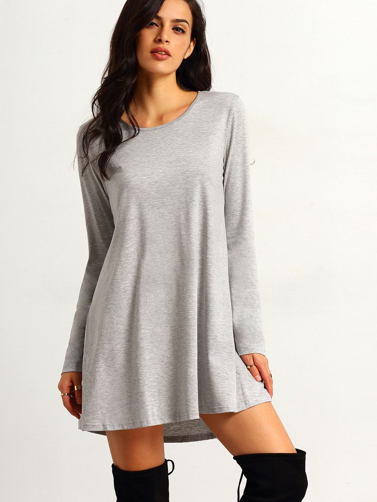 Grey long sleeve round neck casual dress small dresses pinterest