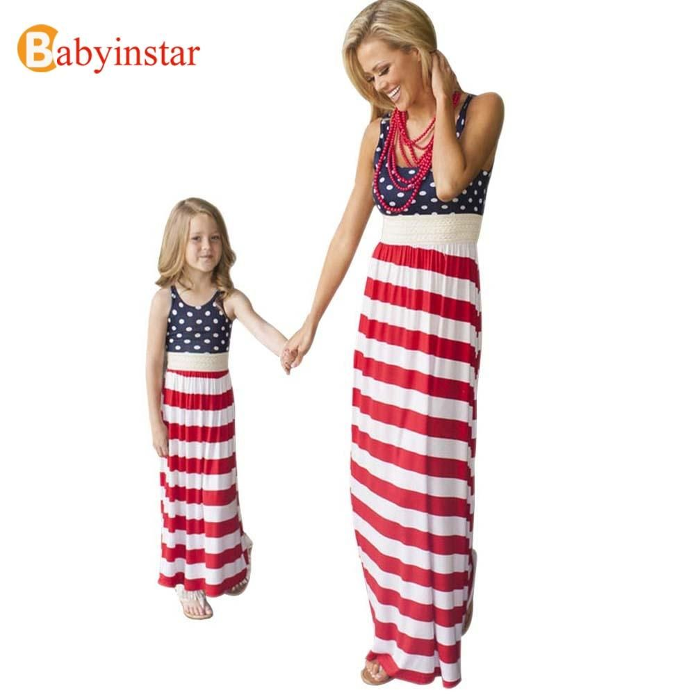 49f27d63c7cf7 Babyinstar 2017 New Family Matching Outfits America Flag Mother ...