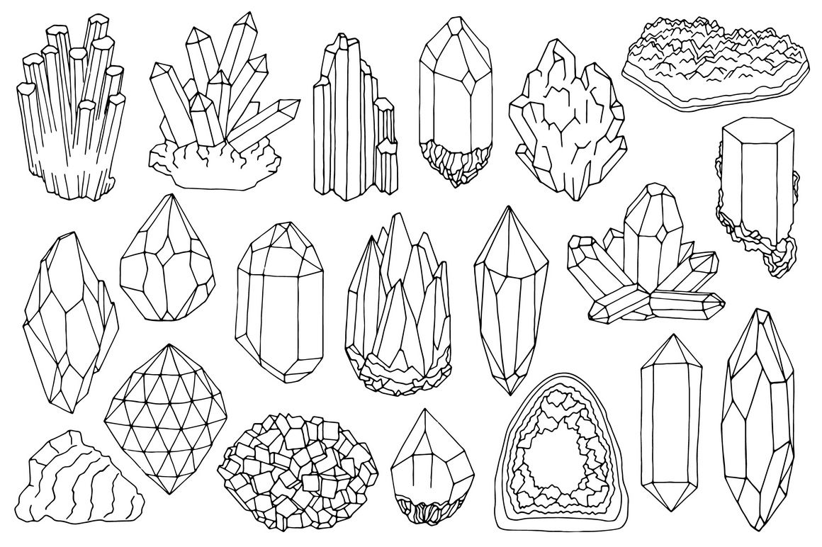 Watercolor Crystals Minerals Gems Clipart Set By Just