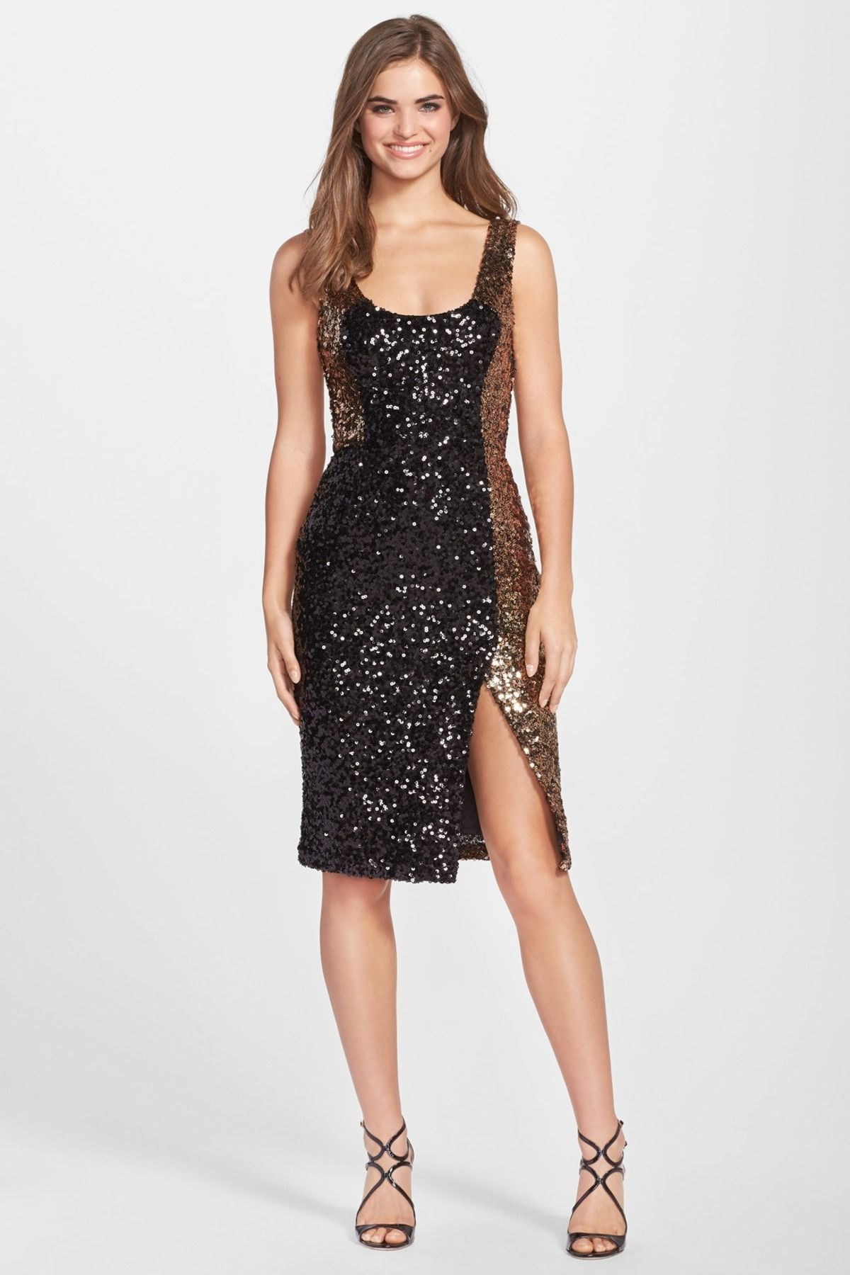 French connection cosmic sparkle sequin sheath dress