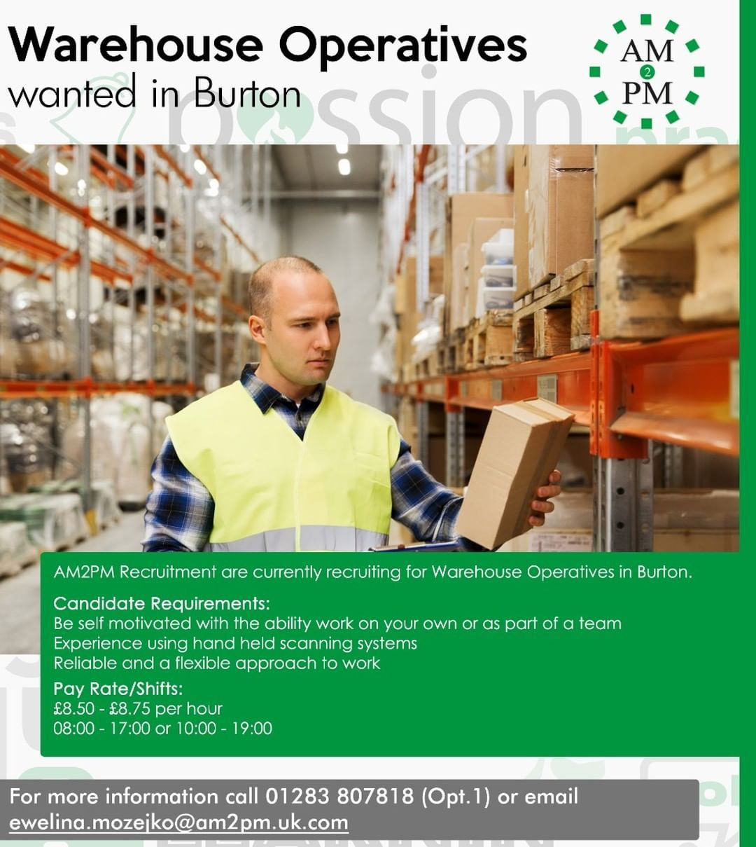 Am2pm Recruitment Is Looking For Warehouse Operatives For A Client Based In Burton Pay Rate 8 50 8 75 Per H Warehouse Jobs Recruitment Agencies Job Seeker