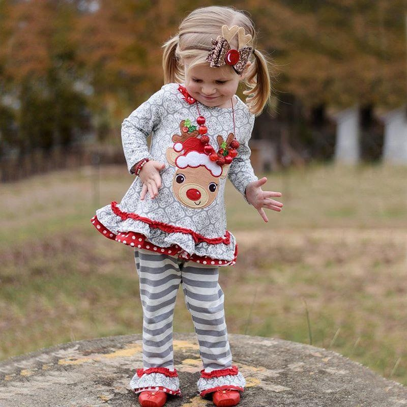 0c4ed840cad53 #2018 Merry Christmas #Toddler Kids #Baby Girl #Clothes #Christmas #Deer #T  shirt #Tops #Stripe Pants #Princess #outfits
