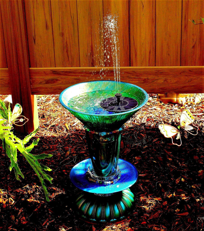 """Glass Bird Bath, Green glass garden art """"totem"""" sculpture"""