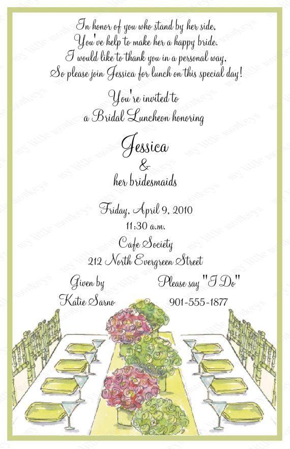 10 Bridal Luncheon Invitations with Envelopes Free Return Address - sample return address label