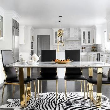 Rectangular Marble Top Dining Table With Gold Base